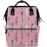 ママバッグ マザーズバッグ リュックサック ハンドバッグ 旅行用 羽と矢 ピンク ファション