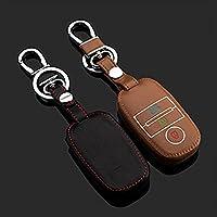 革車のキーカバーケースキーホルダー用起亜k2 k3 k4 k5 kx3 sportageスマート車のキーは暗闇で光る革キーホルダー-黒