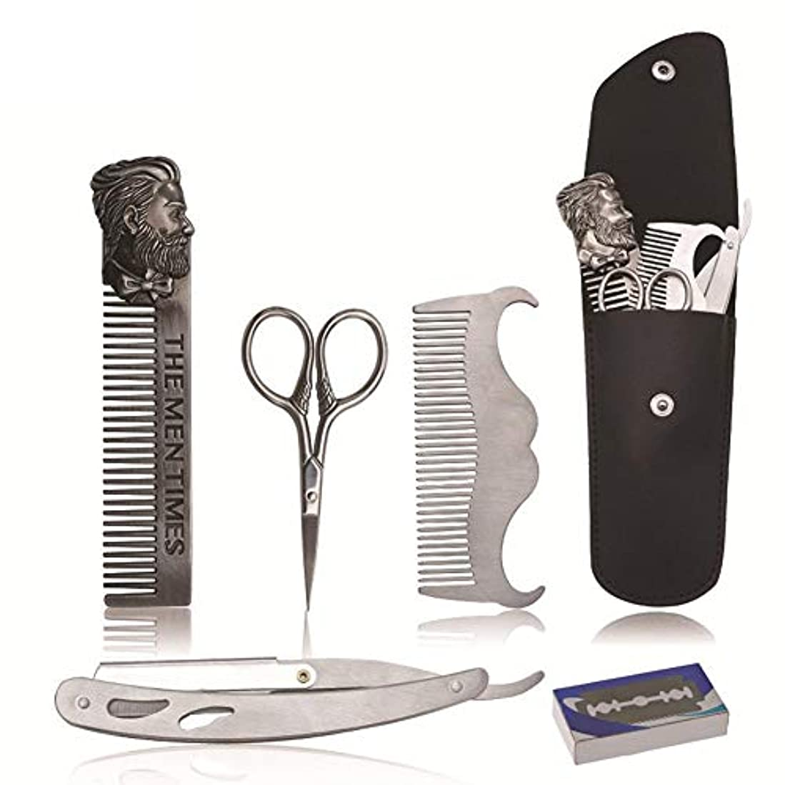 締める火曜日下に向けます5ピースは、男性Barttrimmsetのひげについてバートケアセットを設定すると、ひげの櫛ステンレス鋼、バートステンシルトリムスタイリングツール、ひげコムBartpflegesetを剃ります
