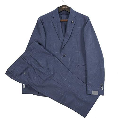 LARDINI (ラルディーニ) スーツ メンズ 春夏 2つボタン シングル ウール ストレッチ グレンチェック ネイビー 紺 L【並行輸入品】
