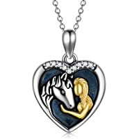 POPKIMI Horse Locket Necklace That Hold Picture Jewelry 925 Sterling Silver Girls Embrace Horse Gift for Women Girls