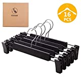 VEHHE Pants Hangers Skirt Hangers, 16 Pack Black Plastic Dress Trousers Pant Hanger with Non-Slip Big Clips and 360 Rotatable Hook (Black)