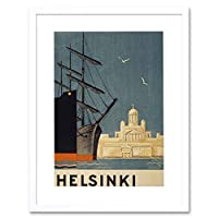 Helsinki Finland Tuomiokirkko Cathedral Ship Picture Framed Wall Art Print フィンランド大聖堂船画像壁