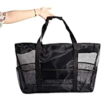 Fivebop Extra Large Beach Bags with Pockets Zipper Oversize Mesh Pool Tote Bag Mesh Duffel Bag Toy Storage Bag for Travel Picnic