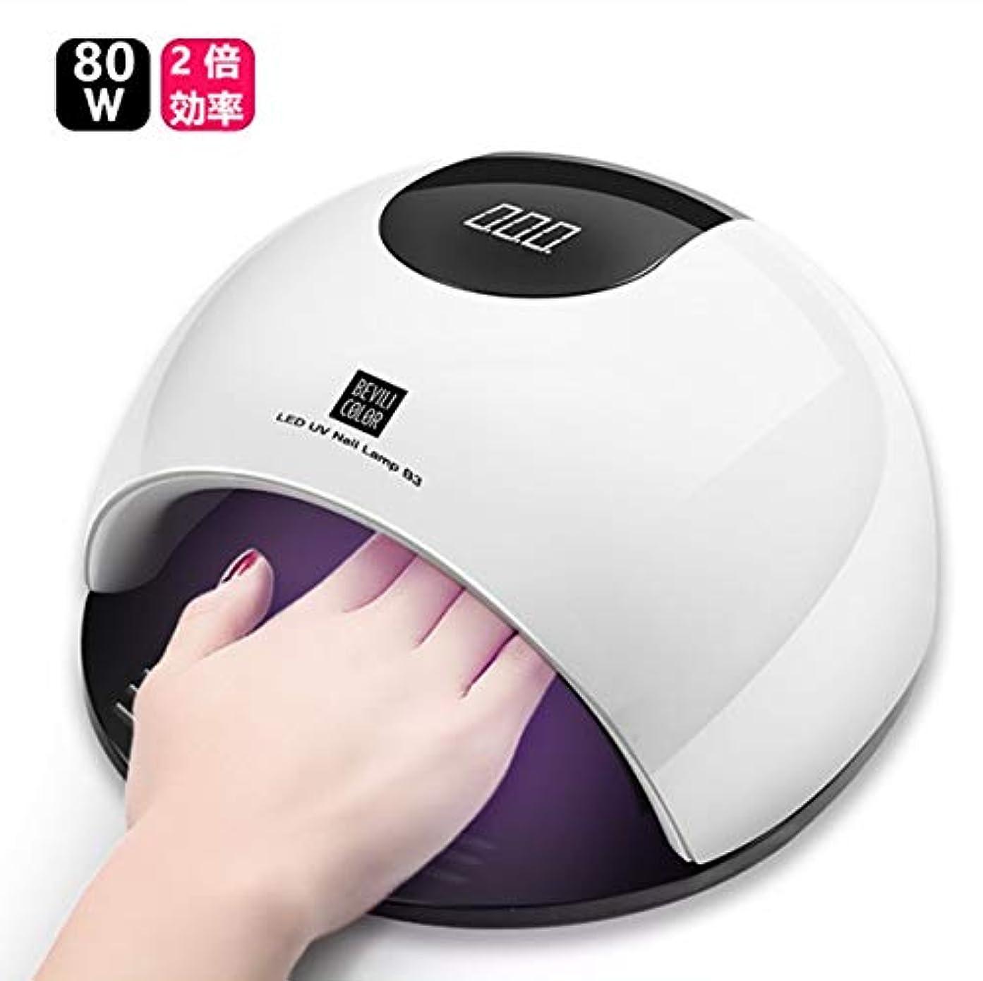 ベンチ真実読書UV LEDネイルドライヤー 赤外線検知 80W2倍の効率 赤外線美白機能付き マニキュア用 4段階タイマー設定可能 手足兼用 (白) [並行輸入品]