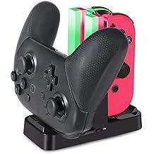 ジョイコン Joy-Con Pro コントローラー 充電 スタンド Nintendo Switch 3WAY充電可能 KINGTOP ニンテンドー スイッチ プローコントローラー 充電ホルダー チャージャー 充電指示LED付き 日本語説明書付き
