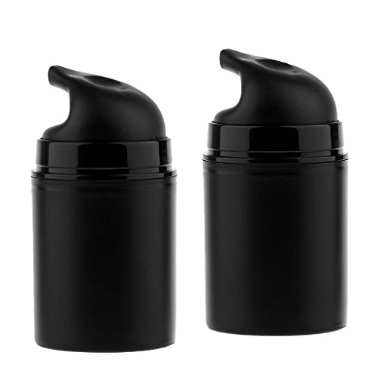 素朴な関数リード2本 ポンプボトル 空ボトル ローション コスメ ティック クリームボトル エアレスポンプディスペンサー 50ml 2色選べる - ブラック