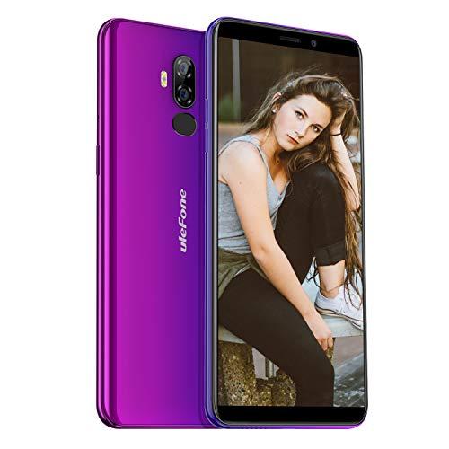 Ulefone P6000 Plus simフリースマートフォン Android 9.0 6.0インチ画面スマホ本体 6350mAh 大容量バッテリー 3GB RAM + 32GB ROM(128GB TFカッド)デュアルsim(Nano) リアカメラ13MP + 5MPフロントカメラ5MP 4Gグローバル バンド対応端末 顔認証 指紋認証 OTG au不可 (オーロラ パープル)