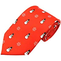 Jacob Alexander Boys' Prep Red Frosty The Snowman Snowflakes Regular Length Neck Tie