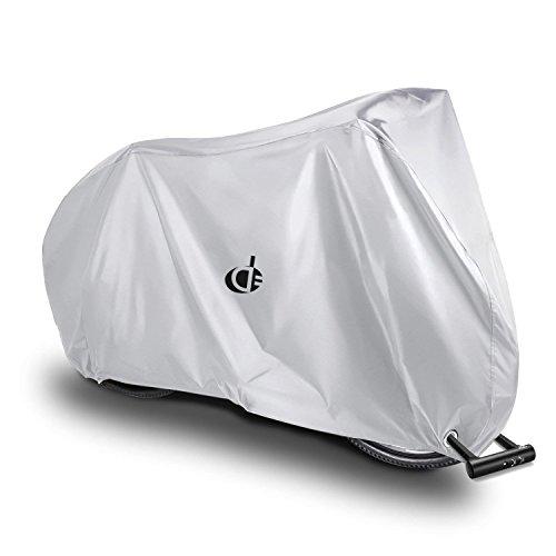 自転車カバー サイクルカバー 防水 厚手 丈夫 210D 撥水加工 UVカット風飛び防止 収納袋付 破れにくい 29インチまで対応 (シルバー)