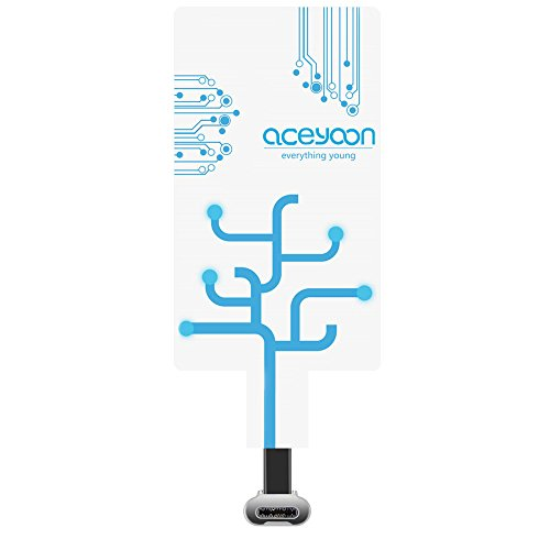 aceyoon USB C QI レシーバー 急速 軽量小型 USB3.1 無線充電レシーバー 無接点 置くだけ 充電シート Type-C スマホ 対応 Wireless Charger ワイヤレス充電