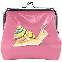 がま口 財布 口金 小銭入れ ポーチ カタツムリ 絵 ピンク Jiemeil バッグ かわいい 高級レザー レディース プレゼント ほど良いサイズ