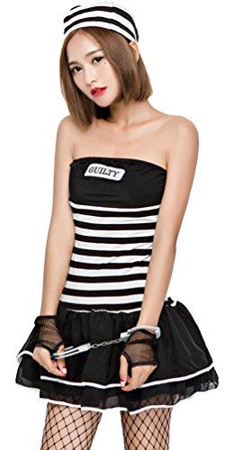 囚人服 セクシーワンピース コスチューム 女性用レディース ボーダー ハロウィン コスプレ衣装