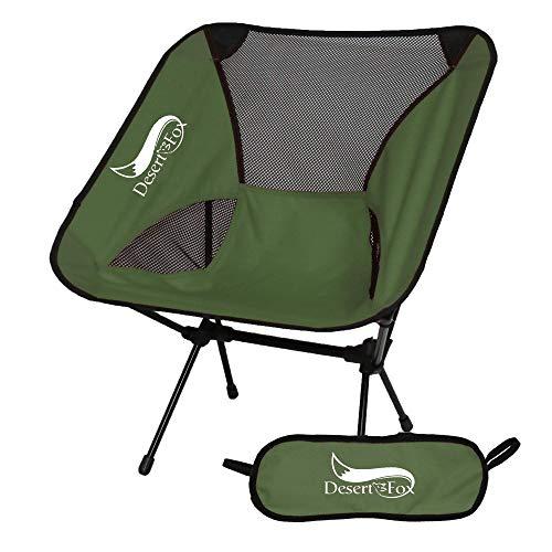 DesertFox アウトドアチェア 折りたたみ 超軽量【耐荷重150kg】コンパクト イス 椅子 収納袋付属 お釣り 登山 携帯便利 キャンプ椅子 (グリーン)