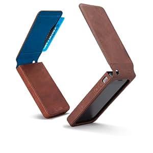 Case-Mate 日本正規品 iPhone 4 カードホルダー付レザーケース フリップ・ウォレット ケース(液晶保護シート つき) ディストレスト ブラウン/ブルー インナー ライニング CM012274