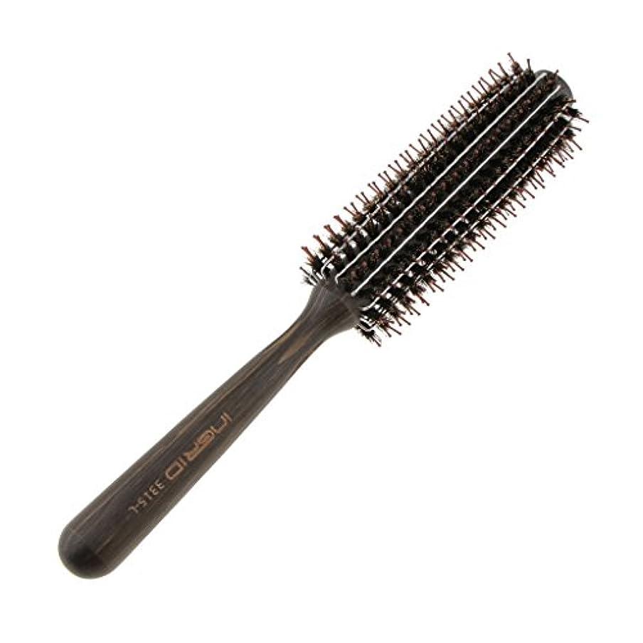 瞑想聖書抑止するロールブラシ カール 巻き髪 ヘア ブラシ ロール ヘアコーム 木製ハンドル 3サイズ選べる - L