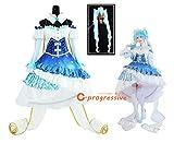 「C.progressive」 初音ミク 雪ミク コスプレ 衣装 Snow Princess ドレス 2019 ウィッグ追加可能 (服装+ウィッグ, L)