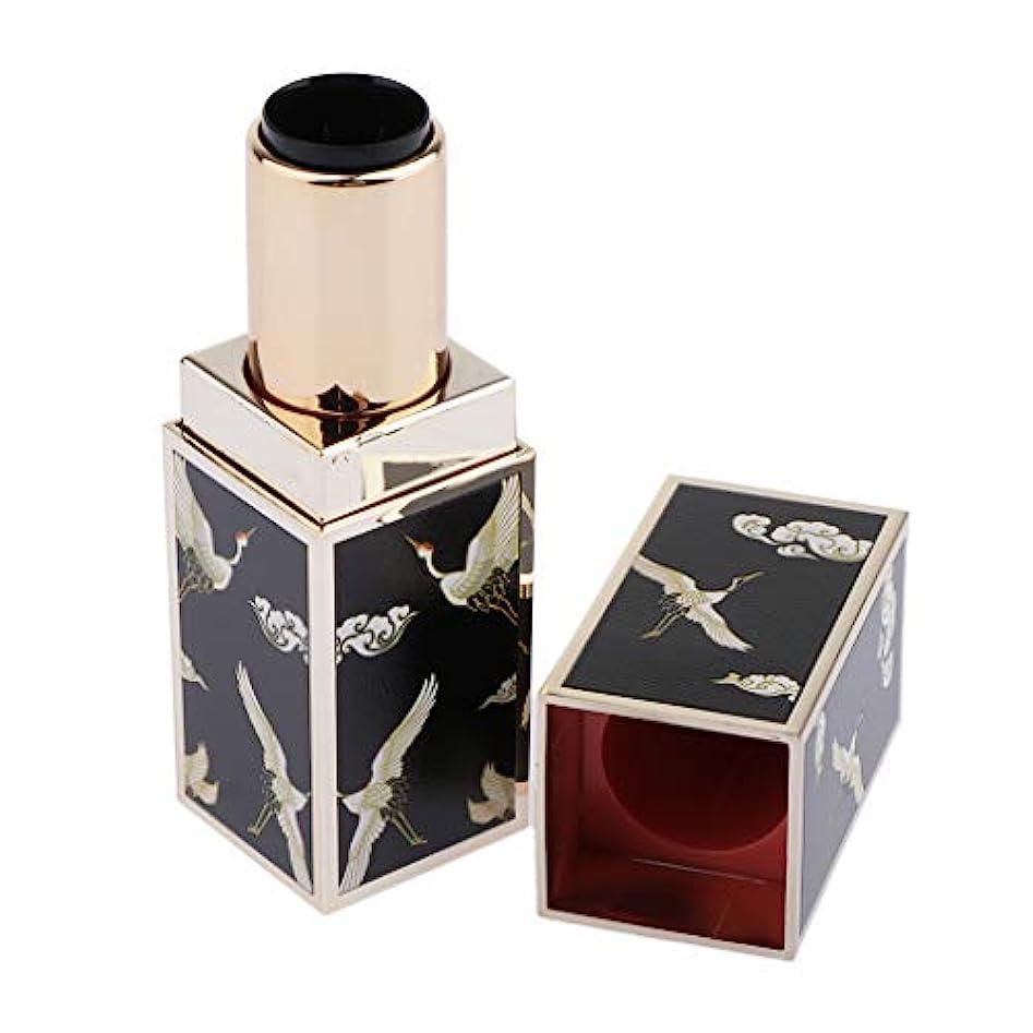 レクリエーションカウボーイやさしく3Dプリント 花柄 リップグロスチューブ 口紅チューブ DIY コスメ 詰替え容器 古典的 全6色 - 黒