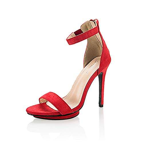 JSUN7 Women's Fashion Stiletto High Heel Sandal Pump Shoe Red Size: 8