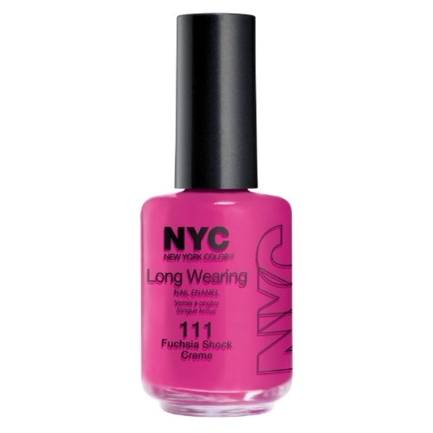 大胆な分岐する申請中(6 Pack) NYC Long Wearing Nail Enamel - Fuchisia Shock Creme (並行輸入品)