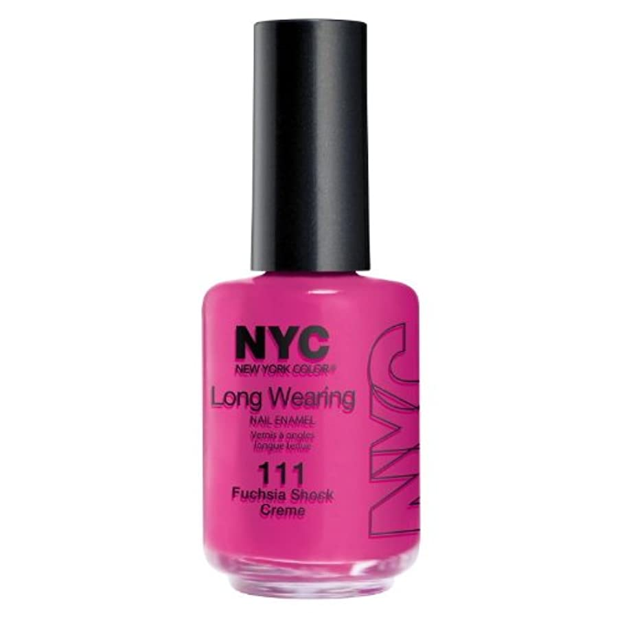 可能性不足決定する(3 Pack) NYC Long Wearing Nail Enamel - Fuchisia Shock Creme (並行輸入品)