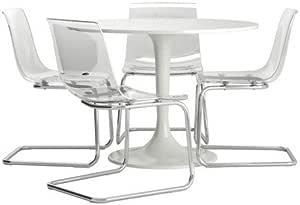 IKEA(イケア) DOCKSTA TOBIAS テーブル&チェア4脚 ホワイト 透明