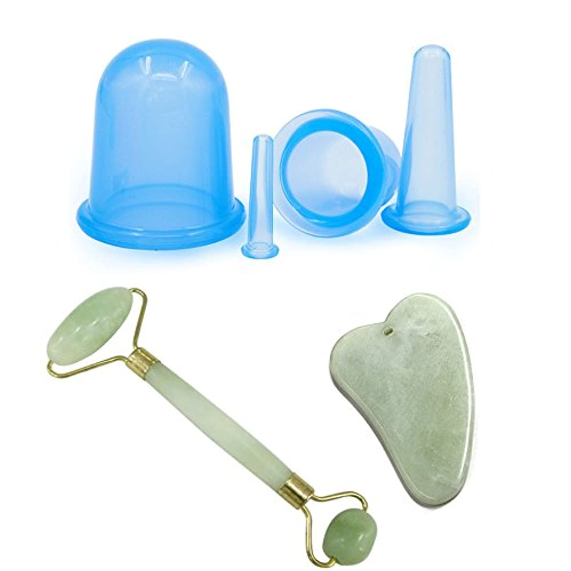 ルート市民アミューズEcho & Kern Jade roller & Gua Sha & Silicon massage cups 4 pcs二点セット翡翠フェイスローラー 顔 マッサージ 美顔かっさプレート スキンケア シリコン 4個セット...