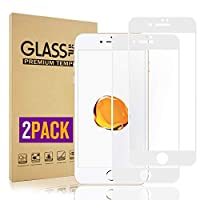 iPhone 8 ガラスフイルム 3Dタッチ対応、 iPhone 7 液晶保護【2枚セット】最大硬度9H/高透過率/自動吸着/6DカーブLCD保護フィルムアンチコリジョン指紋保護/全面フルカバー 4.7インチ(白)