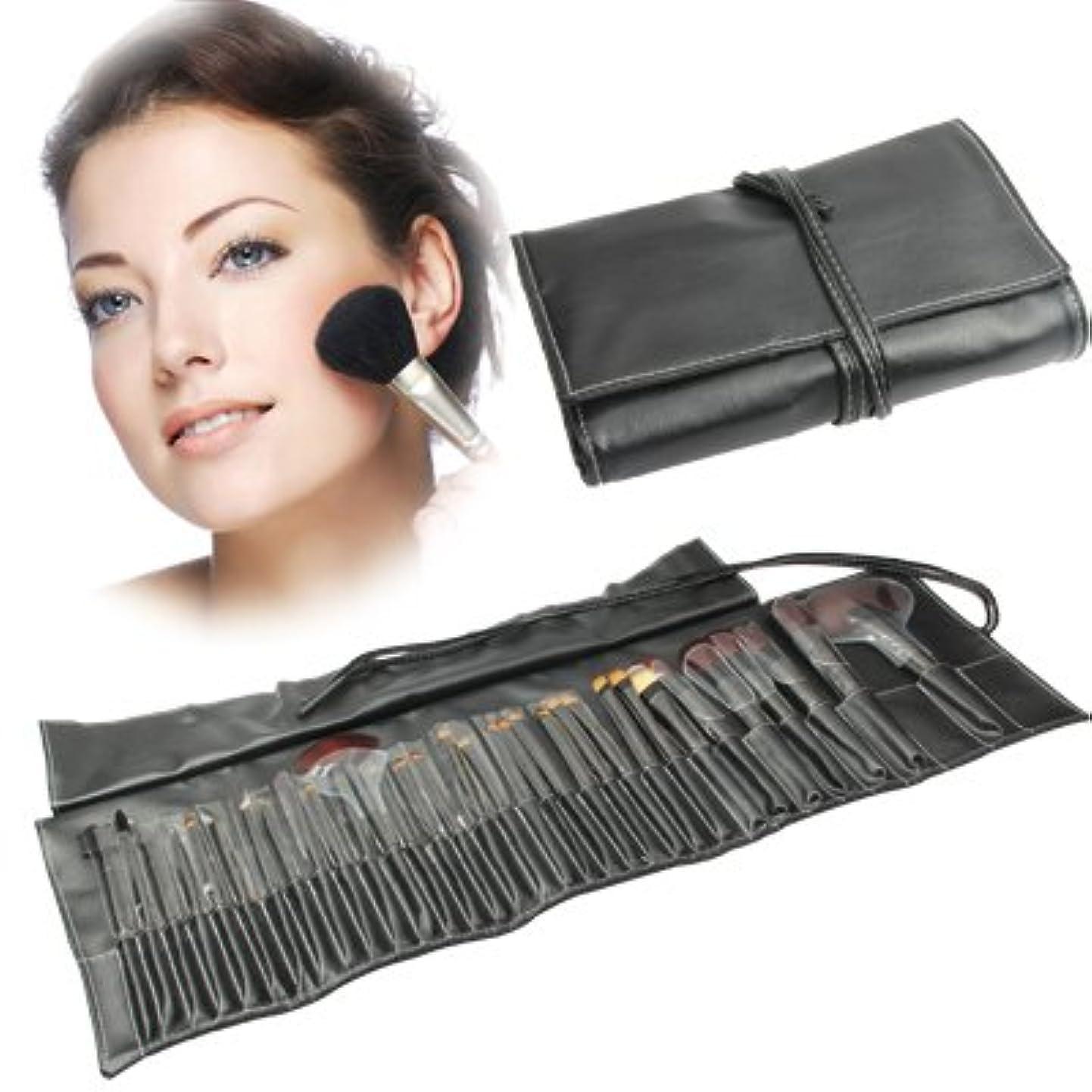 実際の気味の悪い改善するMEI1JIA QUELLIAプロフェッショナル32pcsメイクブラシセット美容キット化粧品+ PUレザーキャリングケース(ブラック)