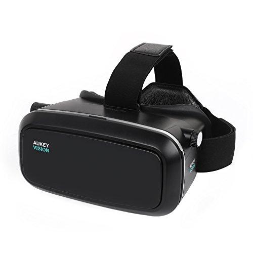 AUKEY 3D VR メガネ ゴーグル ヘッド マウント スマホ ゲーム 映画 仮想現実 3.7-5.5インチのスマホに適用 VR-O1
