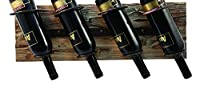 TWINE Wall Mounted Rustic Country Wood and Metal Wine Rack - Holds 4 Bottles for Vertical or Horizontal Mounting [並行輸入品]