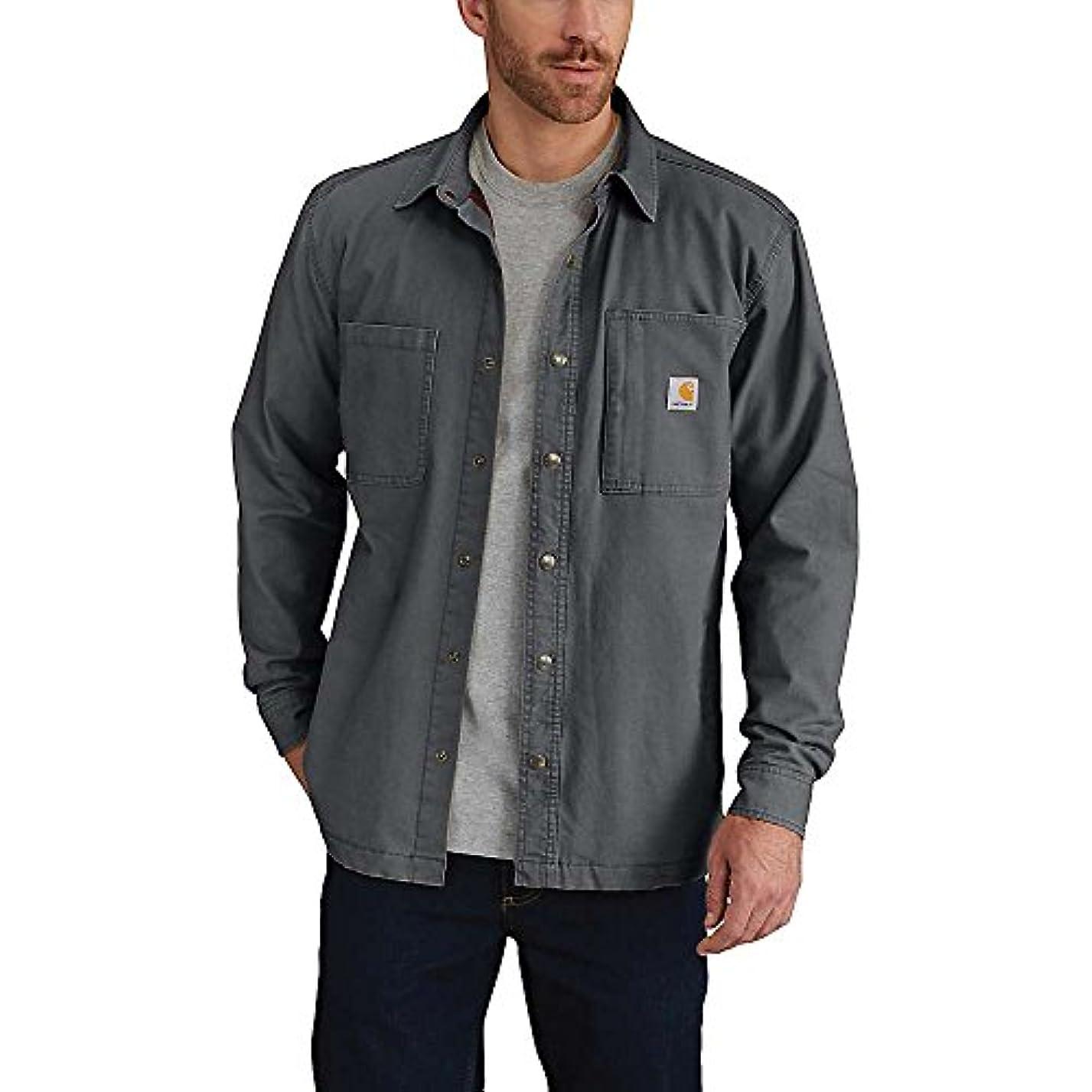 規範同等のクラックカーハート トップス シャツ Carhartt Men's Rugged Flex Rigby Shirt J Shadow 1xj [並行輸入品]
