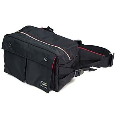 ポーターエルファイン(PORTER L-fine) PORTER×ILS共同企画 ウエストバッグ L(ラージ)サイズ Waist Bag Large size ブラック(裏地:レッド) Black(Backing:Red)