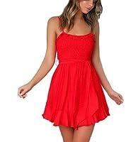 Beeatree 女性スパゲッティストラップフリルバックレスフロントタイ夏ラインラインサンドレス Red XS