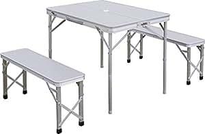 FIELDOOR テーブル・チェアセット 収納式アルミレジャーテーブル ベンチ分離タイプ シルバー / 幅90cm 幅90×奥行67×高さ70cm~39cm