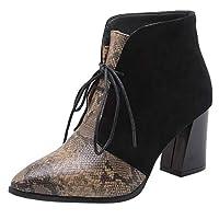 [Melady] レディース ファッション 秋靴 太ヒール アンクルブーツ 動物柄 パーティー ドレス 靴 ブーティーブーツ レースアップ Black サイズ 34