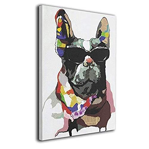 K-Duck フレンチブルドッグ 絵画 フレーム装飾画 キャンバスアート アートパネル 壁画 壁掛け 絵 モダンアート 版画 壁飾り ポスター 40x50cm
