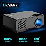 Devanti 2800 Lumens Portable Mini Video Projector with 120'' Projection Size for 1080P Home Cinema Movies Video Game Outdoor Activies Party, Compatible with HDMI VGA USB AV 3.5mm Audio Ports Built-in Heavy Bass Speaker, Advance Android 4.4.4, Wi-Fi connection, Bluetooth function
