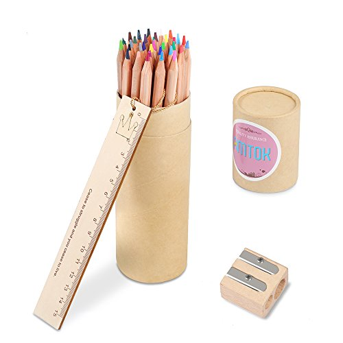 AMTOK 色鉛筆 油性色鉛筆 36色セット 子供と大人の塗り絵用 塗り絵 ...