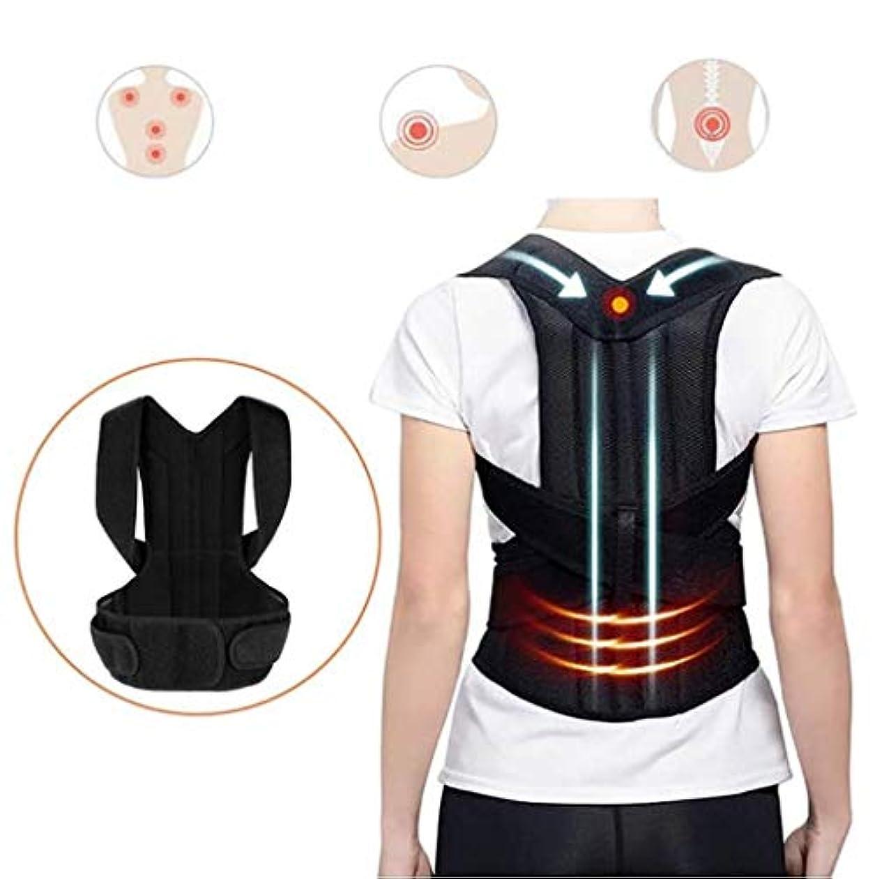 神聖電極俳句姿勢矯正ベルト、背部装具、悪い姿勢の改善、気質の改善、調整可能、腰痛緩和のための二重強力副木付き (Size : L)
