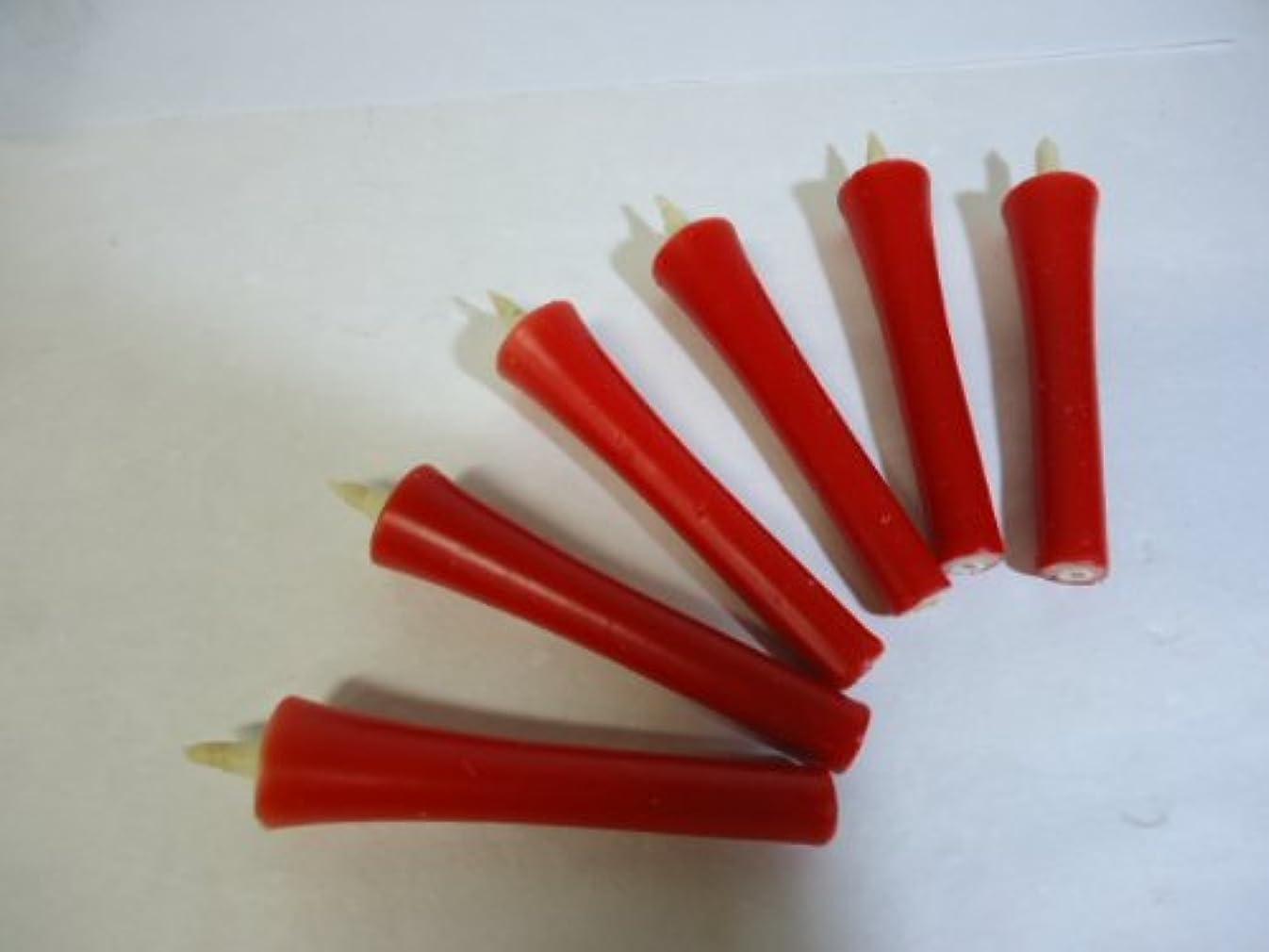 寄生虫順応性普通の和ろうそく 型和蝋燭 ローソク 【朱】 2号 イカリタイプ 朱色 小箱 6本入り