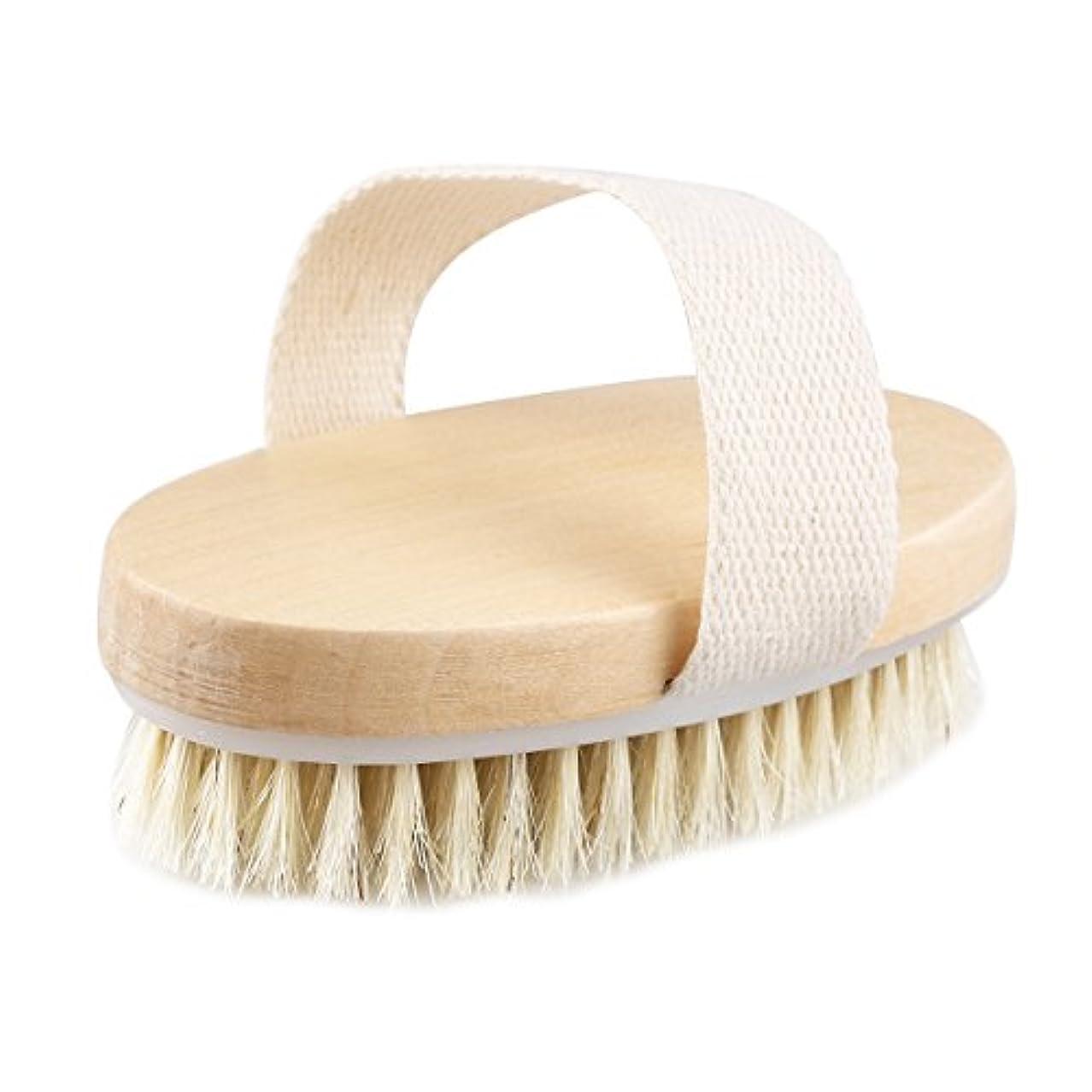 一定祝福旋回TOPBATHY 木の浴室のシャワーの剛毛のブラシのハンドルなしのボディブラシ