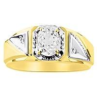 ダイヤモンド&ホワイトトパーズリング14K黄色または14Kホワイトゴールド