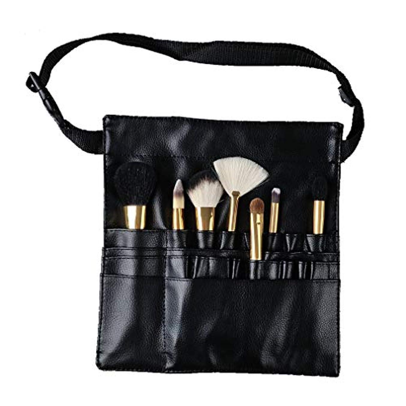 鉛筆格差連続したHonel メイクブラシケース 腰巻き メイクウエストバッグ 化粧バッグ 美容師 多機能収納 汚れ防止カバー シザーケース 化粧筆ケース