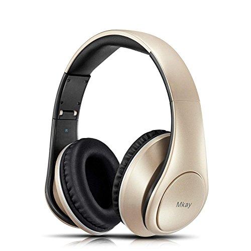 MKay 密閉型 Bluetooth ヘッドホン 高音質 ワイヤレスヘッドフォン Bluetooth V4.2 25時間音楽再生 1.5時間の高速充電 折りたたみ式 マイク内蔵 スマホ・タブレット・パソコンに対応 (ゴールド)