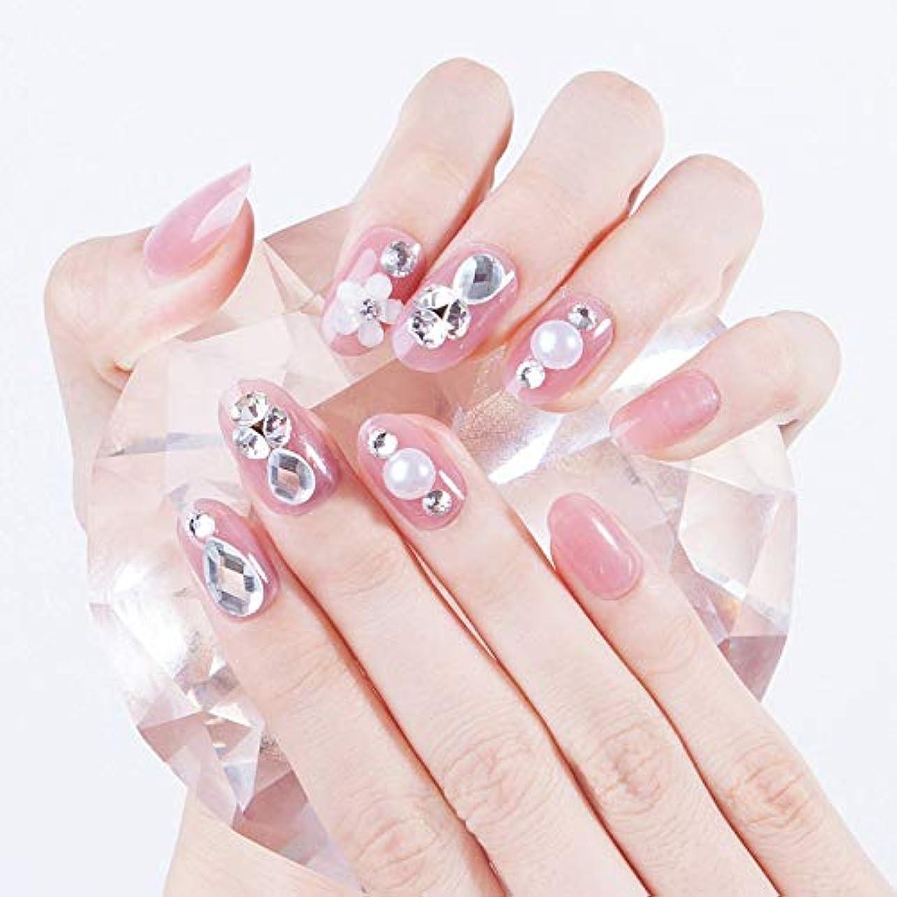 歩行者ライトニング影響力のあるスウィートピンク 水滴タイプアクリルや3D花飾り、キラキララインストーンなどのデコレーション 花嫁ネイルチップ 手作りつけ爪 ネイルジュエリー ネイルアート