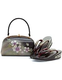草履バッグセット 黒 ブラック 銀 シルバー 金 ゴールド 桜 サクラ さくら 花 本革 三枚芯 振袖向き 日本製 Mサイズ