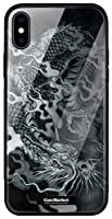 CaseMarket 背面強化ガラス TPUバンパー 背面ケース apple iPhone 11 Pro Max (iPhone11ProMax) 龍の咆哮 黒龍 昇り竜 0061 黒龍 全面保護 耐衝撃
