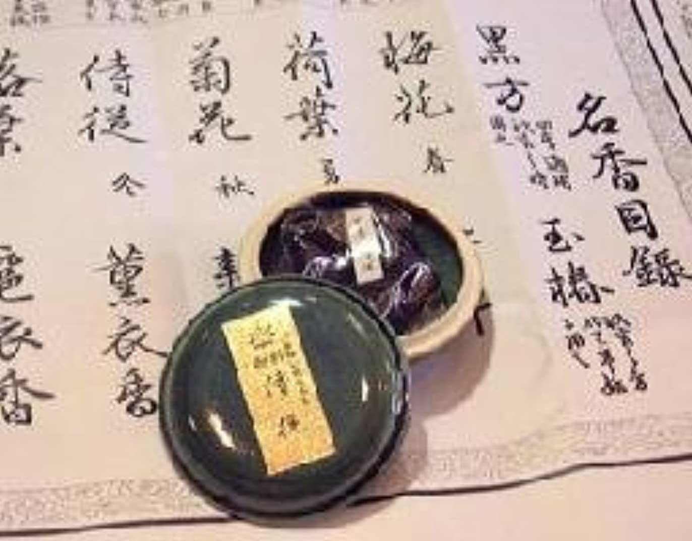 買い物に行くフリース写真鳩居堂の煉香 御香 侍従 桐箱 たと紙 陶器香合11g入 #505