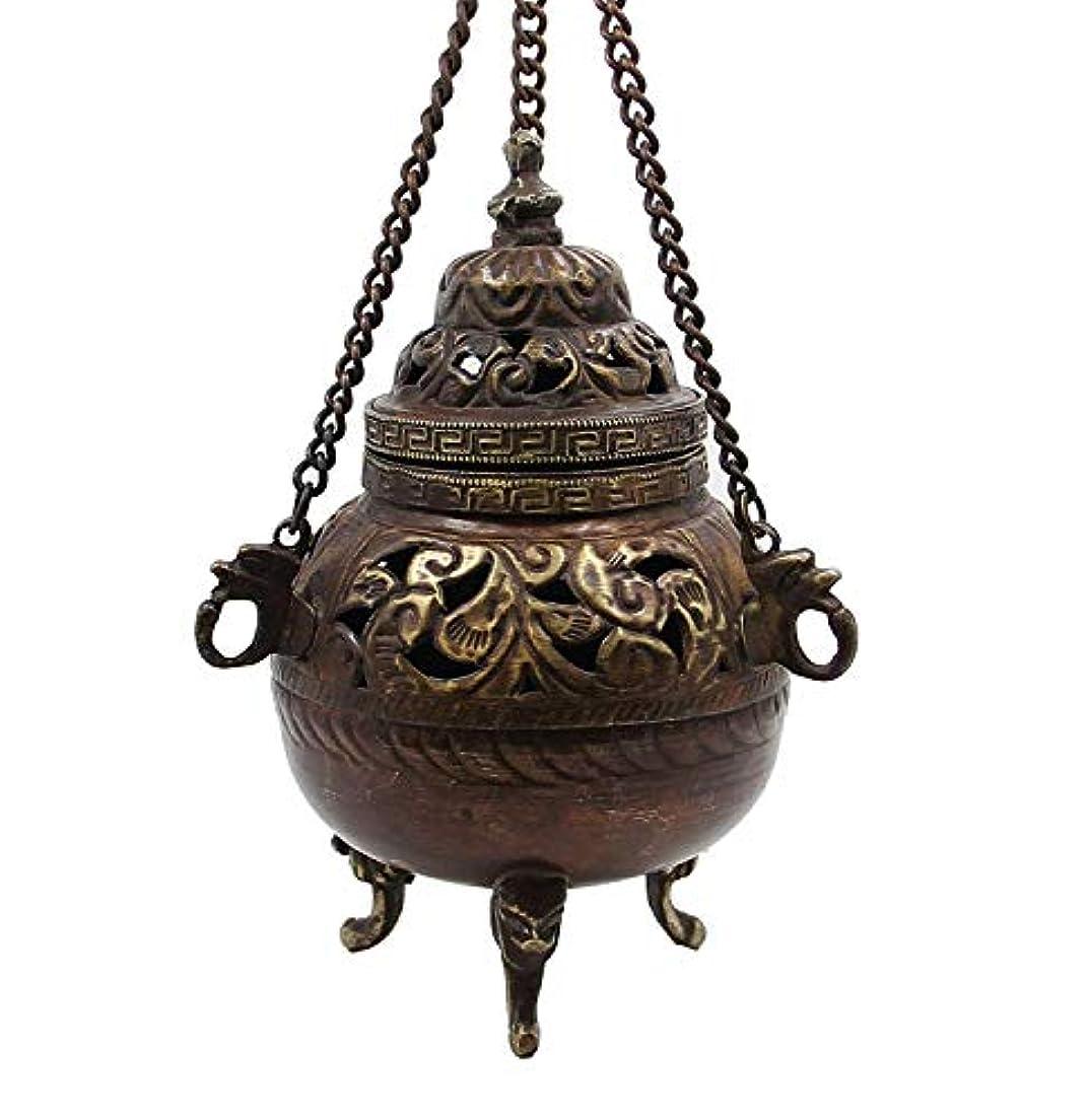三十乳白色騙すチベット従来DharmaObjects Hanging香炉銅5 cm高